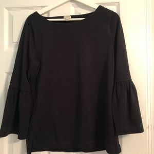 J Crew Black Top with Bell Sleeves